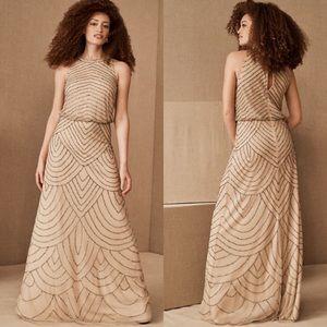 NWT BHLDN Madigan Beaded Tulle Dress Size 10 Nude